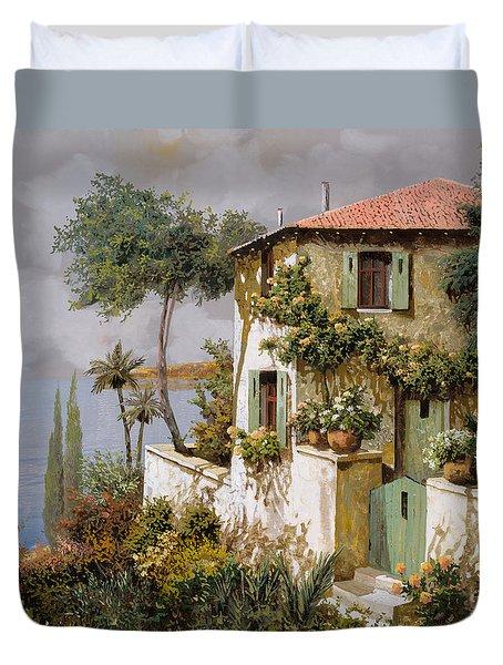 La Casa Giallo-verde Duvet Cover by Guido Borelli