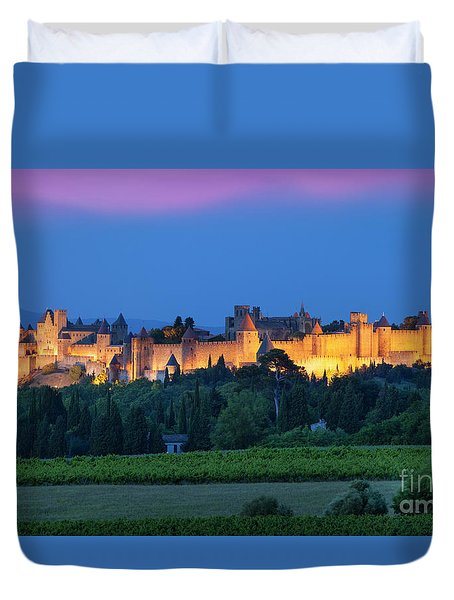 La Cite Carcassonne Duvet Cover by Brian Jannsen