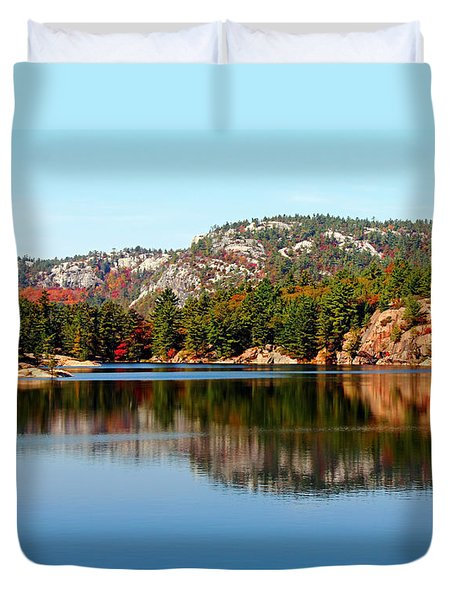 Duvet Cover featuring the photograph La Cloche Mountain Range by Debbie Oppermann