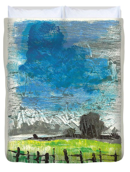 Duvet Cover featuring the painting La Crau by Martin Stankewitz