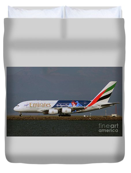 La Dodgers A380 Ready For Take-off At Sfo Duvet Cover