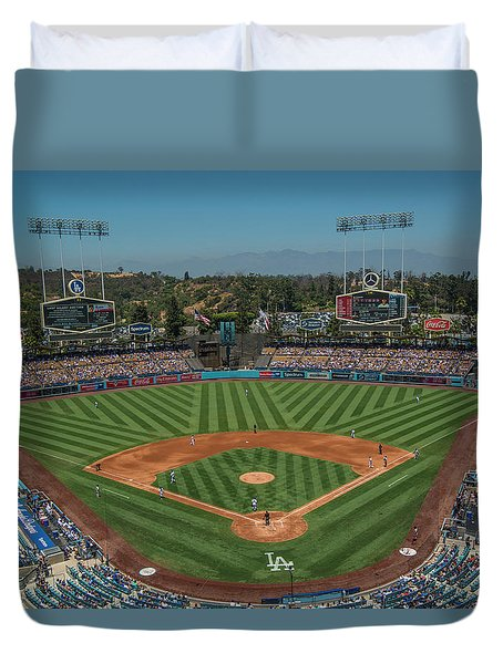 Duvet Cover featuring the photograph La Dodgers Los Angeles California Baseball by David Haskett