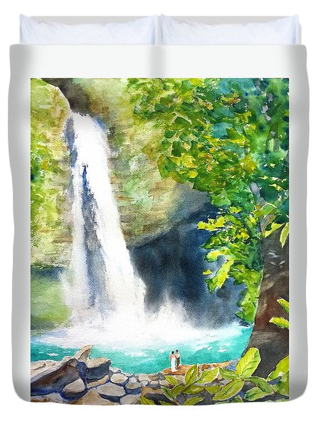 La Fortuna Waterfall Duvet Cover