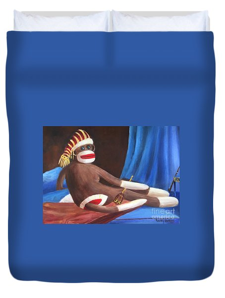 Duvet Cover featuring the painting La Grande Sock Monkey by Randol Burns