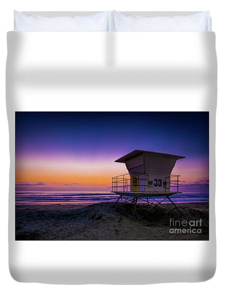 La Jolla Beach Sunset Duvet Cover