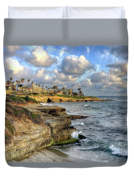 La Jolla Coastline Duvet Cover by Eddie Yerkish