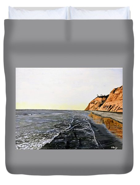 Duvet Cover featuring the painting La Jolla Shoreline by Kevin Daly
