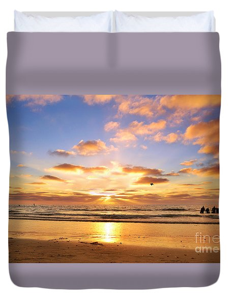 Duvet Cover featuring the photograph La Jolla Sunset by Rima Biswas