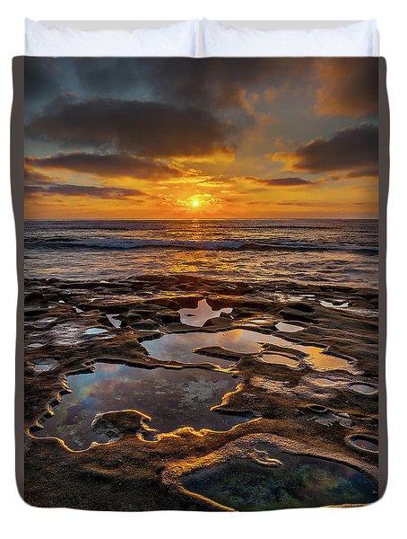 La Jolla Tidepools Duvet Cover by Peter Tellone