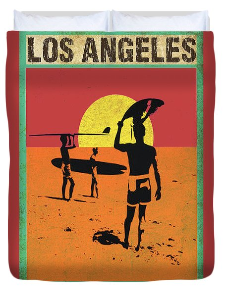 Duvet Cover featuring the digital art La Long Boards by Greg Sharpe