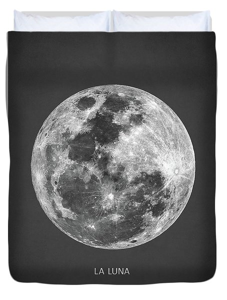 Duvet Cover featuring the digital art La Luna by Taylan Apukovska