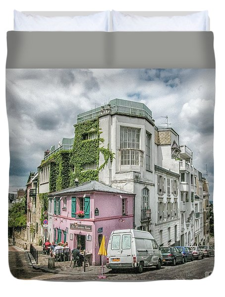 Duvet Cover featuring the photograph La Maison Rose by Alan Toepfer