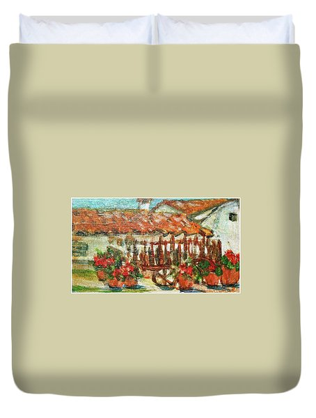 Duvet Cover featuring the painting La Mancha by Mindy Newman