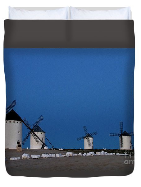 Duvet Cover featuring the photograph La Mancha Windmills by Heiko Koehrer-Wagner