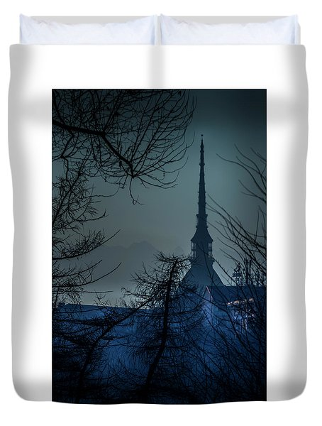 Duvet Cover featuring the photograph La Mole Antonelliana-blu by Sonny Marcyan