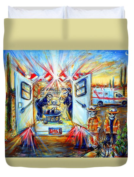 Duvet Cover featuring the painting La Paramedica by Heather Calderon