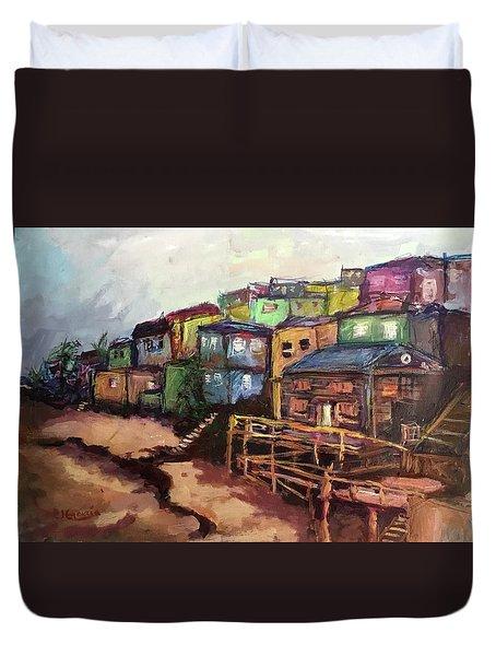 La Perla De Puerto Rico Duvet Cover by Janet Garcia