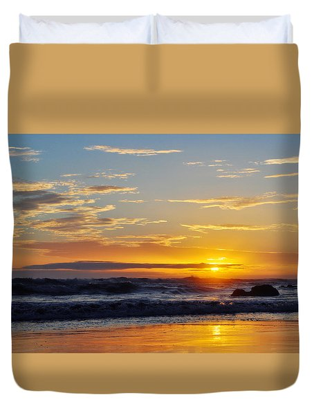 Duvet Cover featuring the photograph La Piedra Sunset Malibu by Kyle Hanson