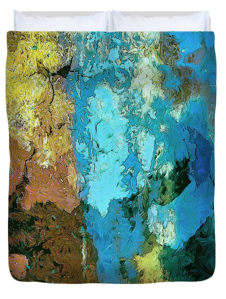 Duvet Cover featuring the painting La Playa by Dominic Piperata