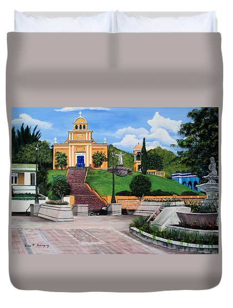 La Plaza De Moca Duvet Cover by Luis F Rodriguez