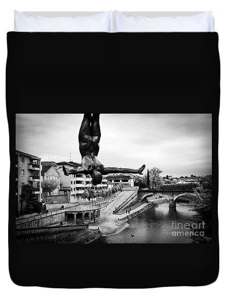 La Plongueuse Over The Midouze River Duvet Cover by RicardMN Photography