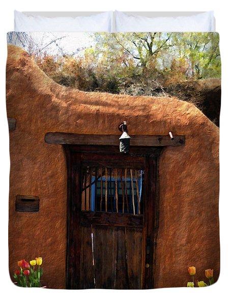 La Puerta Marron Vieja - The Old Brown Door Duvet Cover by Kurt Van Wagner