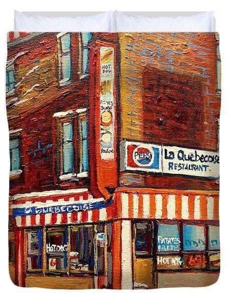 La Quebecoise Restaurant Deli Duvet Cover by Carole Spandau