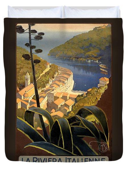 La Riviera Italienne Vintage Travel Poster Restored Duvet Cover