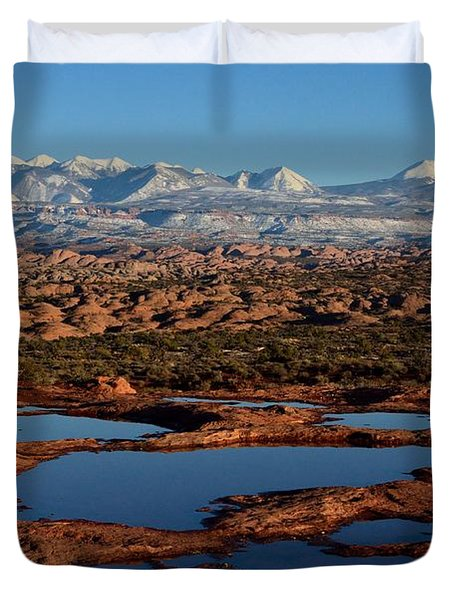 La Sal Mountains And Ephemeral Pools Duvet Cover