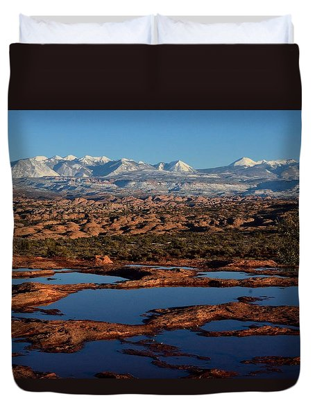 La Sal Mountains And Ephemeral Pools Duvet Cover