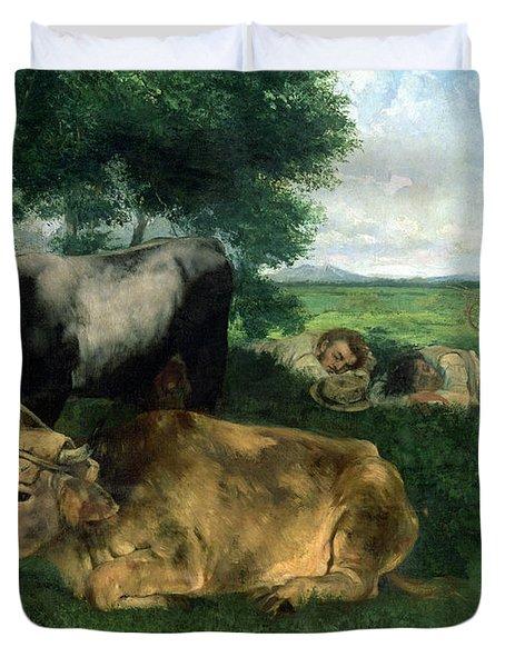 La Siesta Pendant La Saison Des Foins Duvet Cover by Gustave Courbet