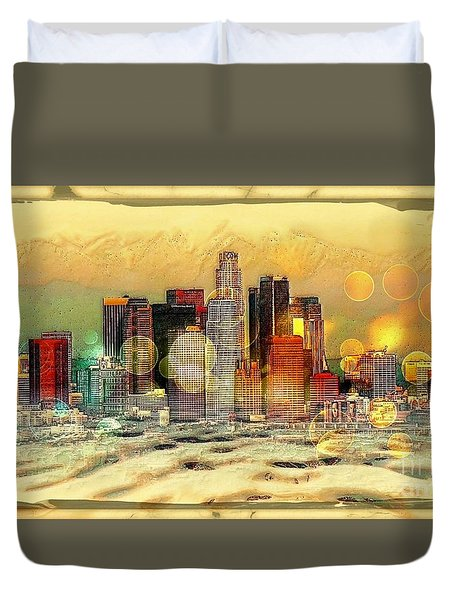 Los Angeles Skyline By Nico Bielow Duvet Cover by Nico Bielow