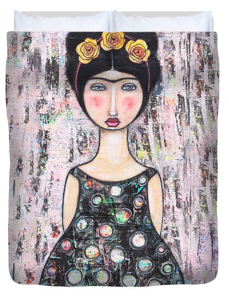 Duvet Cover featuring the mixed media La-tina by Natalie Briney