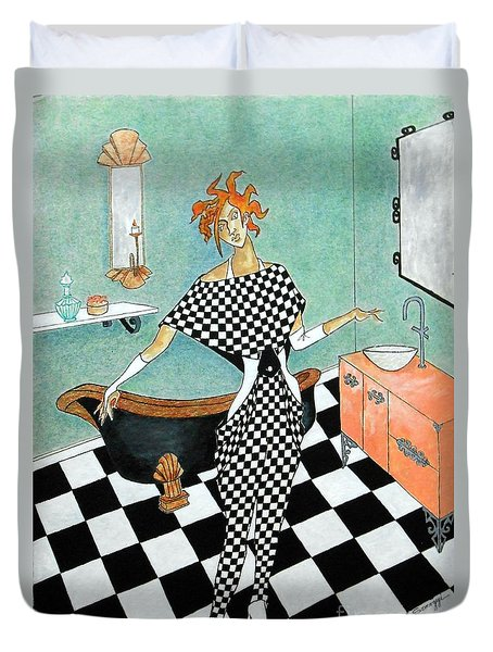 La Toilette -- Woman In Whimsical Art Deco Bathroom Duvet Cover