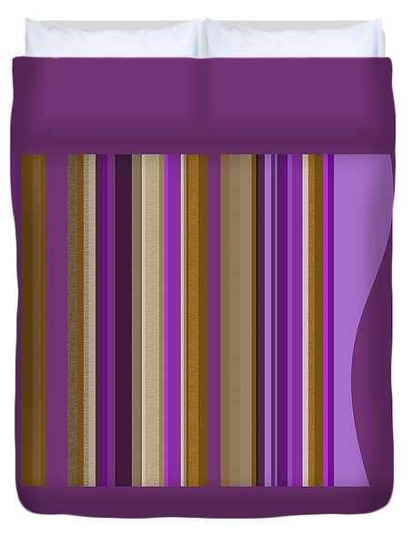 Large Purple Abstract - Two Duvet Cover by Val Arie