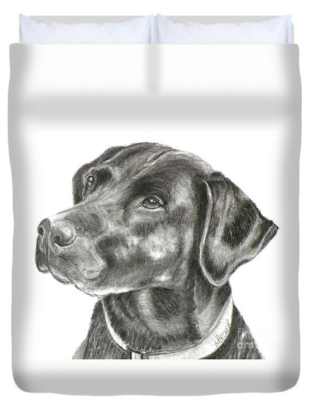 Lab Charcoal Drawing Duvet Cover