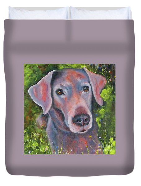 Lab In The Grass Duvet Cover