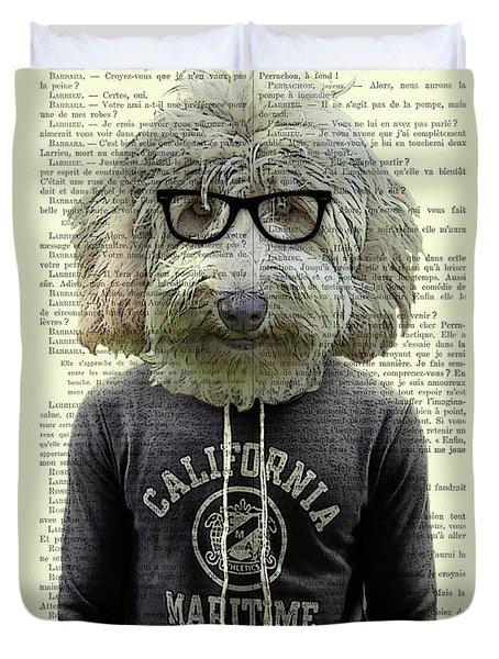 Labradoodle Dog Portrait Art Duvet Cover