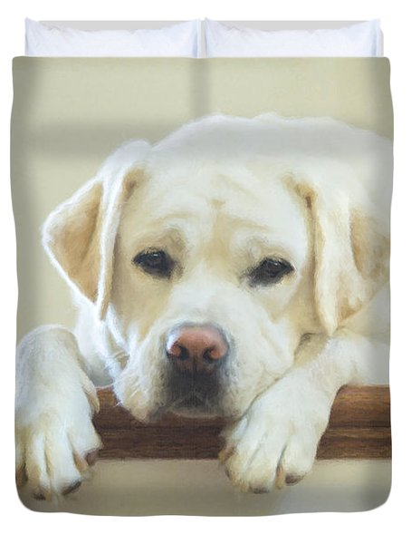 Labrador Retriever On The Stairs Duvet Cover by Diane Diederich
