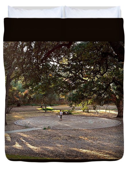 Duvet Cover featuring the photograph Labyrinth Walk by Michele Myers