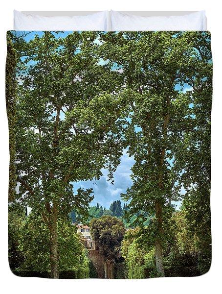 Labyrinthine Medieval Garden Duvet Cover