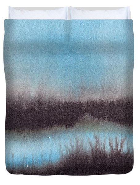 Duvet Cover featuring the painting Lac Au Soir by Marc Philippe Joly