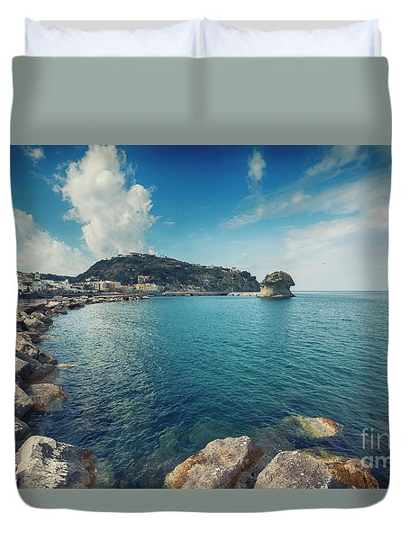Duvet Cover featuring the photograph Lacco Ameno Harbour ,  Ischia Island by Ariadna De Raadt