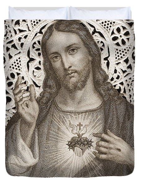 Lace Card Depicting The Sacred Heart Of Jesus Duvet Cover