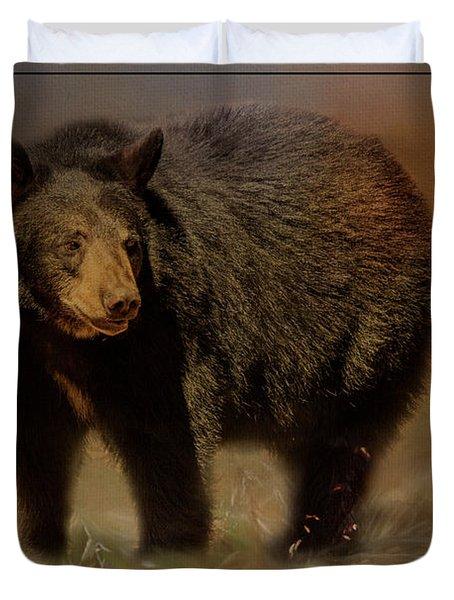 Black Bear In The Fall Duvet Cover