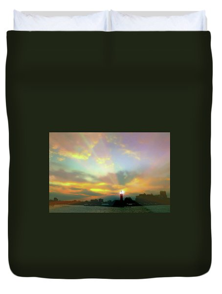 Duvet Cover featuring the photograph Lackawanna Transit Sunset by Diana Angstadt
