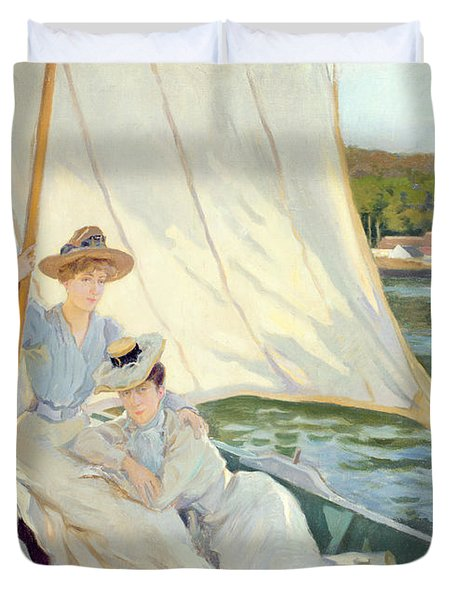 Ladies In A Sailing Boat  Duvet Cover by Jules Cayron