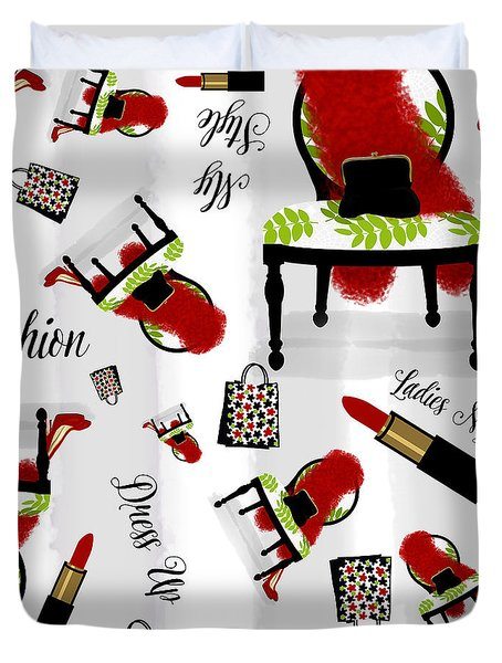 Ladies Night Out Fashion Pattern, Feather Boa, Lipstick, Shopping Duvet Cover