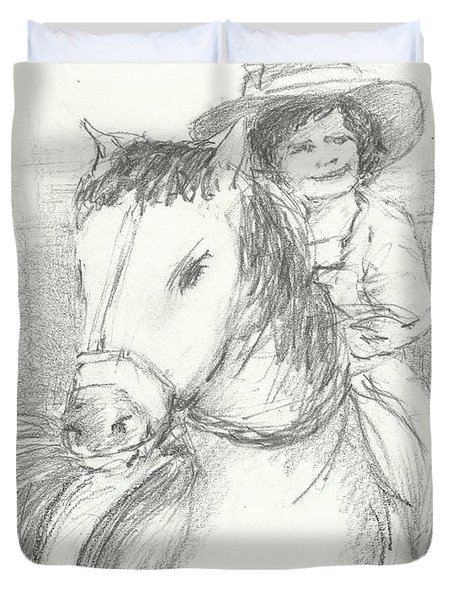 Lady And Her Horse Duvet Cover