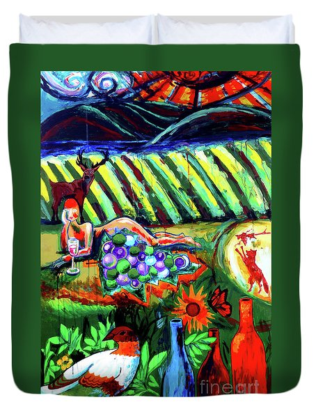 Duvet Cover featuring the painting Lady And The Grapes by Genevieve Esson